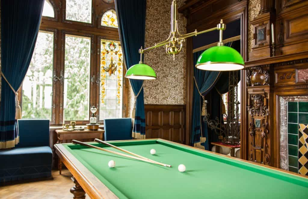 billiard table with lights